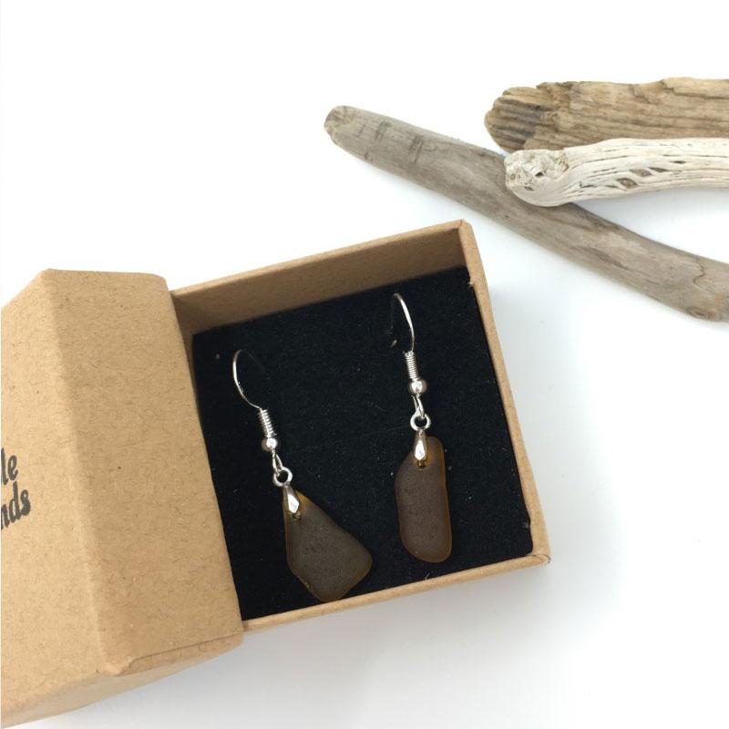 Brown Seaglass Earring