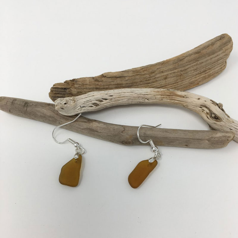 Brown Seaglass Earring