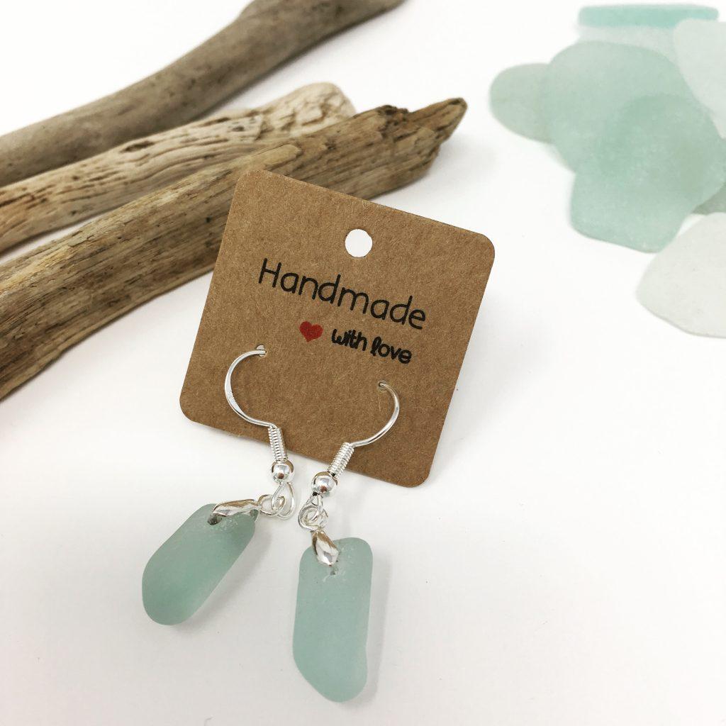 Seaglass Drop Earrings in Pale Blue