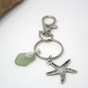 Seaglass Keyring with Starfish Charm