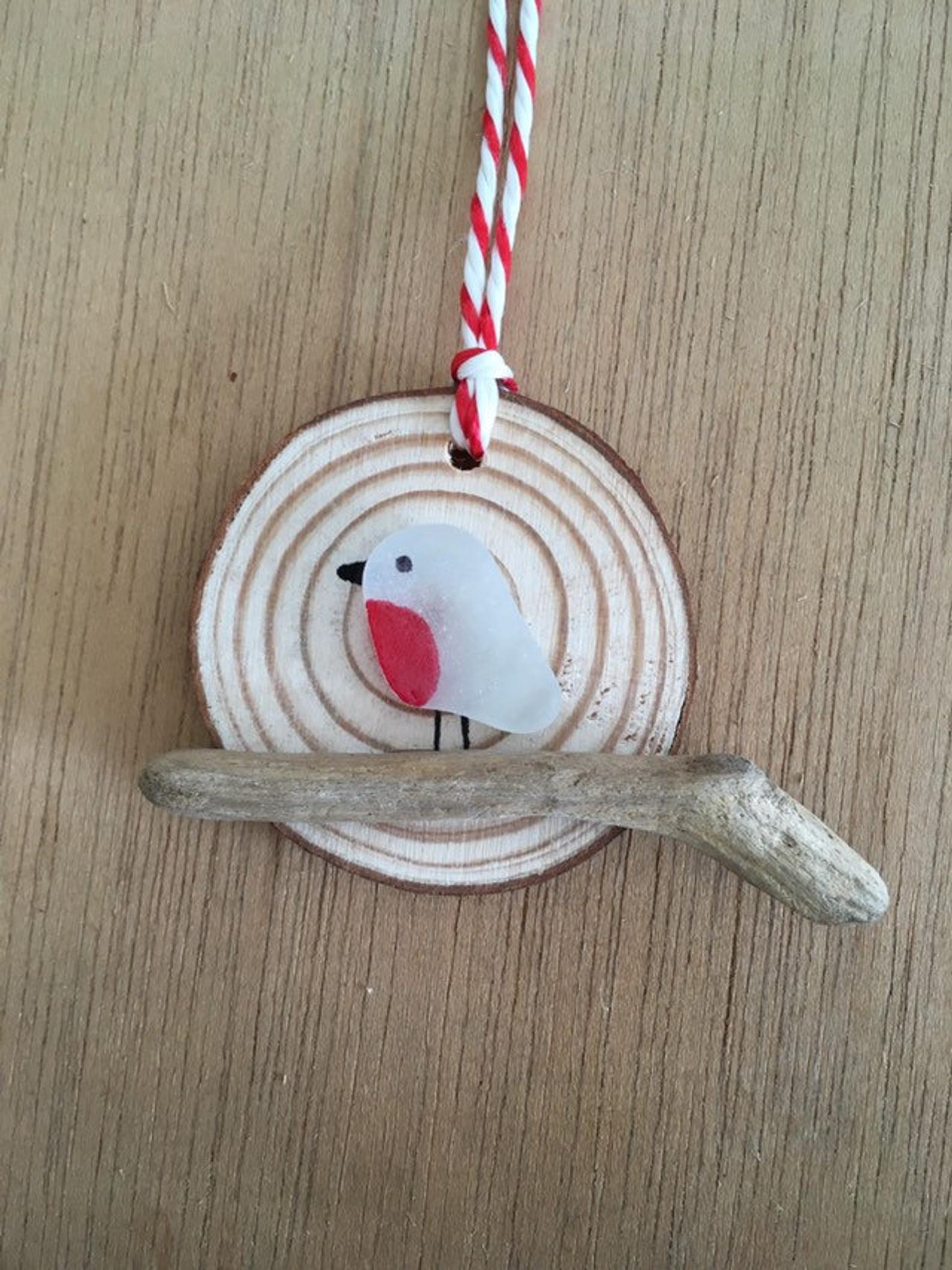 Seaglass Robin Christmas Tree Decoration