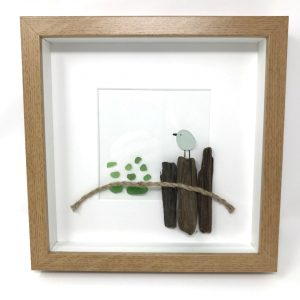 Seaglass and Driftwood Bird Art