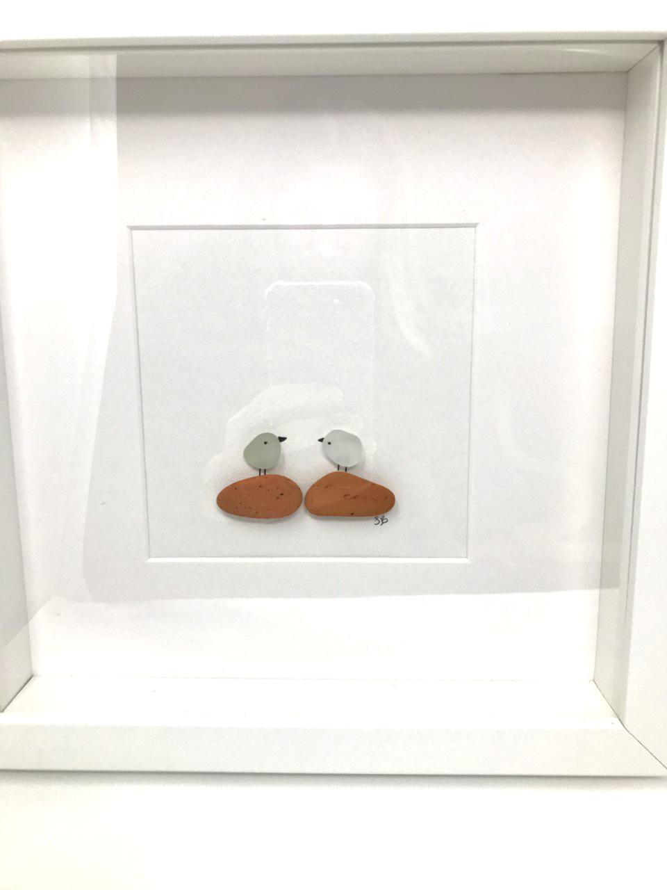 Seaglass and Sea Brick Bird Art