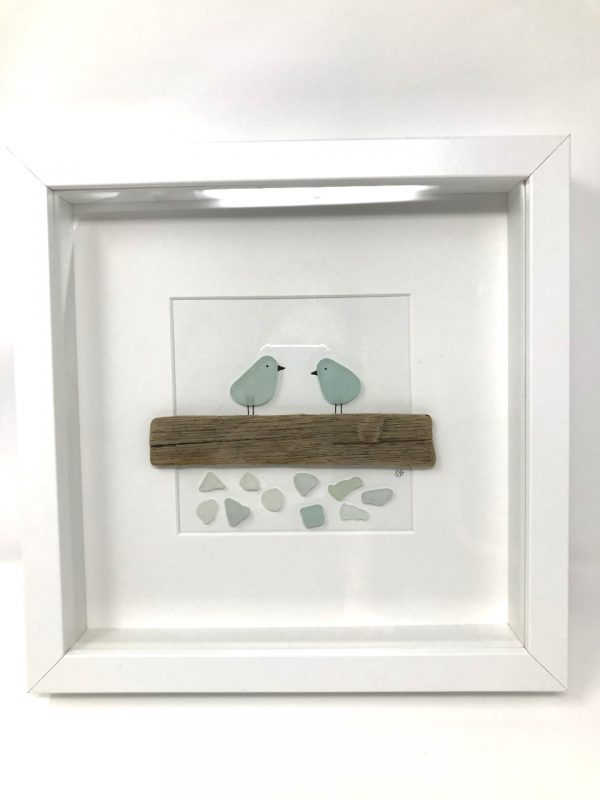 Seaglass and Driftwood Bird Art