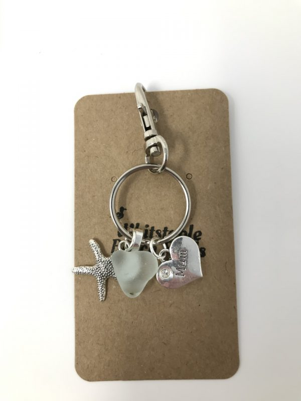 Mum Sea glass Keyring